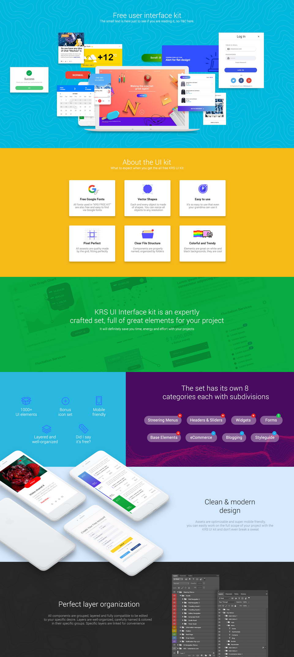 KRS Biggest Free UI Kit PSD · Pinspiry