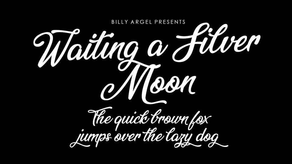 Waiting Silver Moon Is A Classy Script Font For Attractive Logos Headlines Statements And Other Graphic Web Designs Commercial License Visit