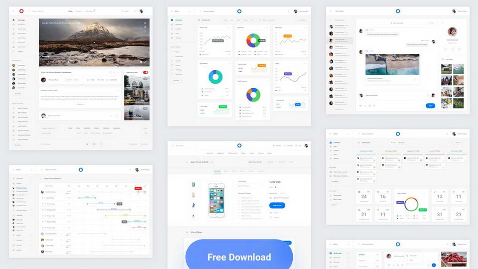 free interfaces pack includes 8 sketch templates of dashboards with charts analytics activity and other ui elements designed in clean and minimalist
