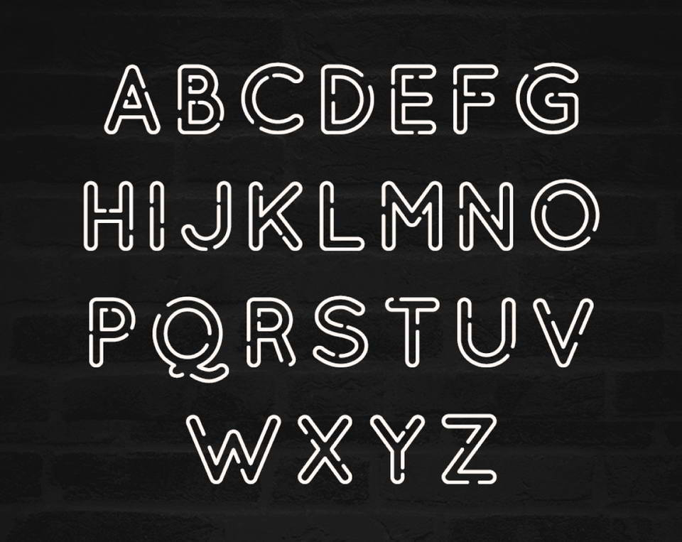 Neon One Is A Free Styled Display Font It Features Full Uppercase Character Set As Well Numbers And Basic Punctuation All With Classic Outlined