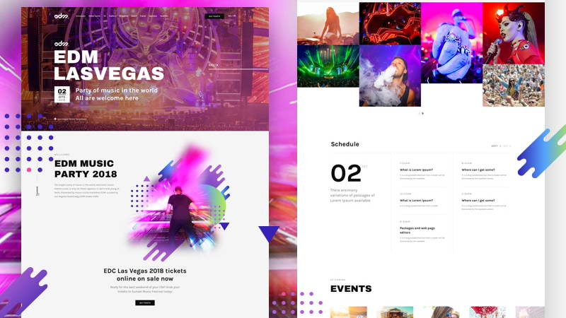 music event landing page free