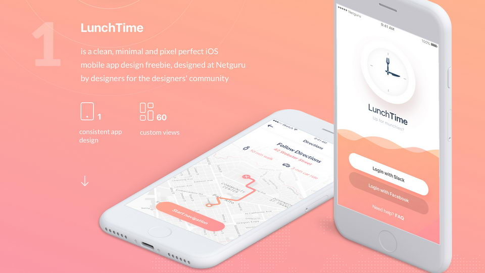 lunch time app ui kit free