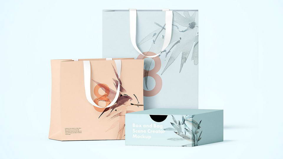 box and bag free mockup