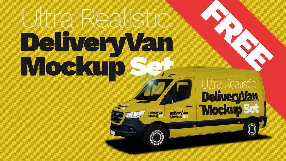 delivery van free mockup