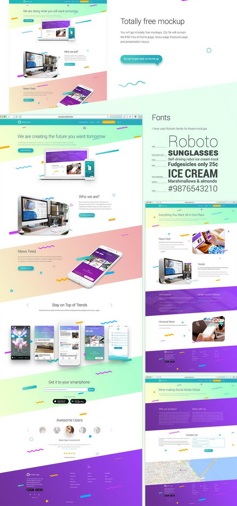 free website mockup psd