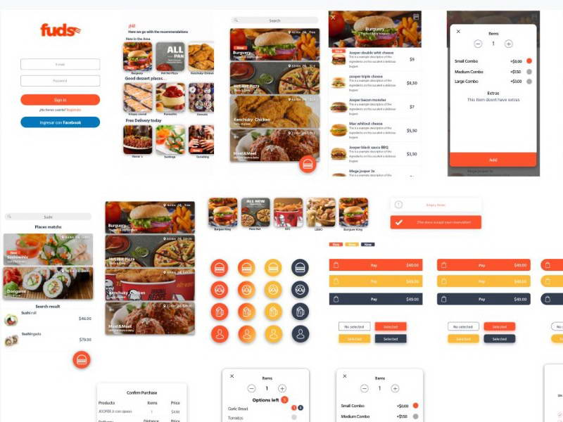 food delivery app ui kit sketch