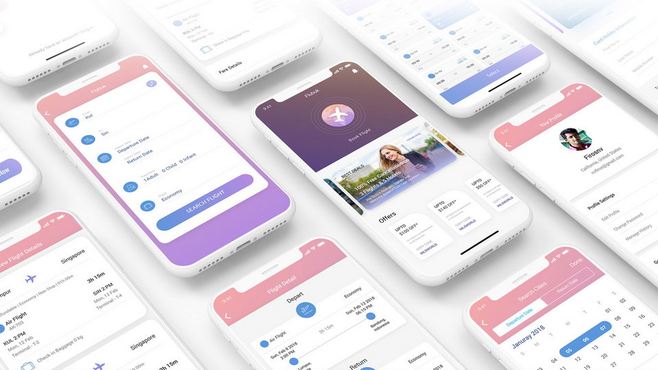 booking app free ui kit
