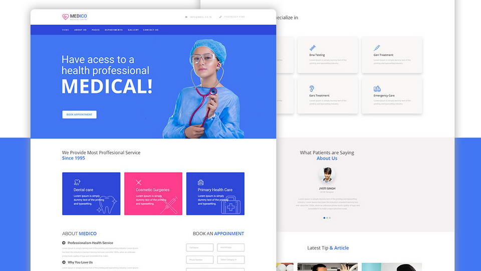 medicine website template free