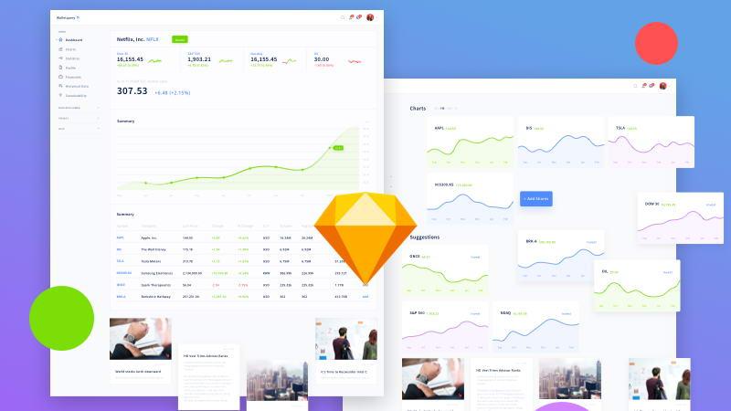 Finance Dashboard Free UI Kit Sketch · Pinspiry