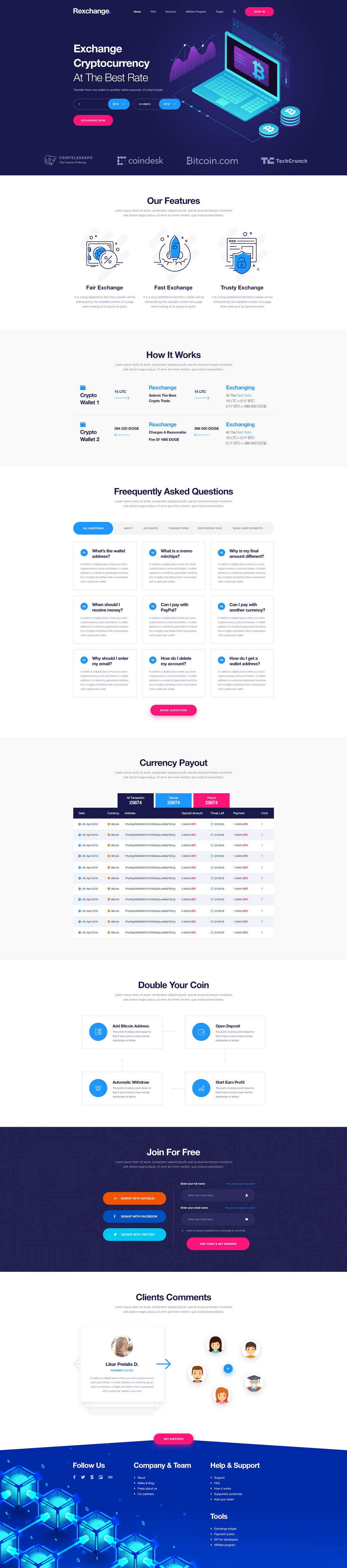 Currency Exchange Website Free Psd