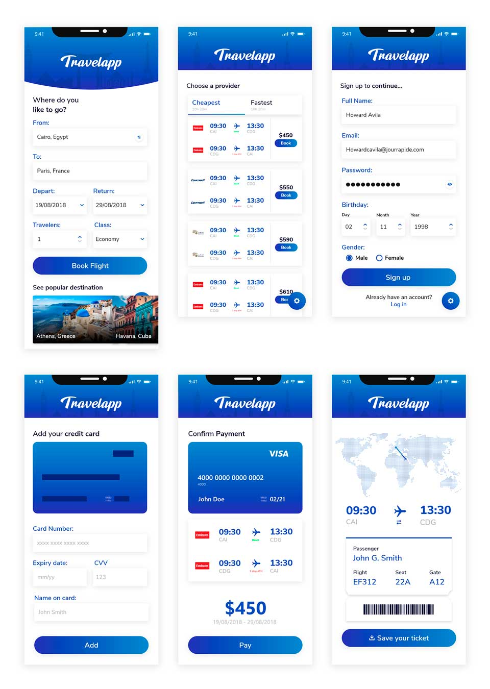 Free Travel App Ui Kit XD · Pinspiry