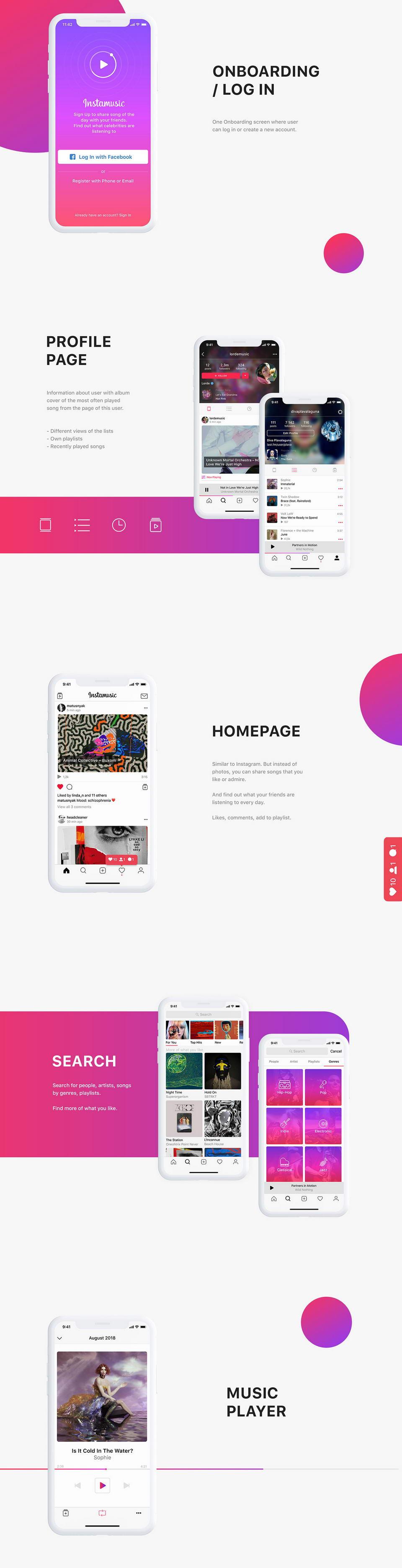 Instamusic Free App UI Kit Figma · Pinspiry