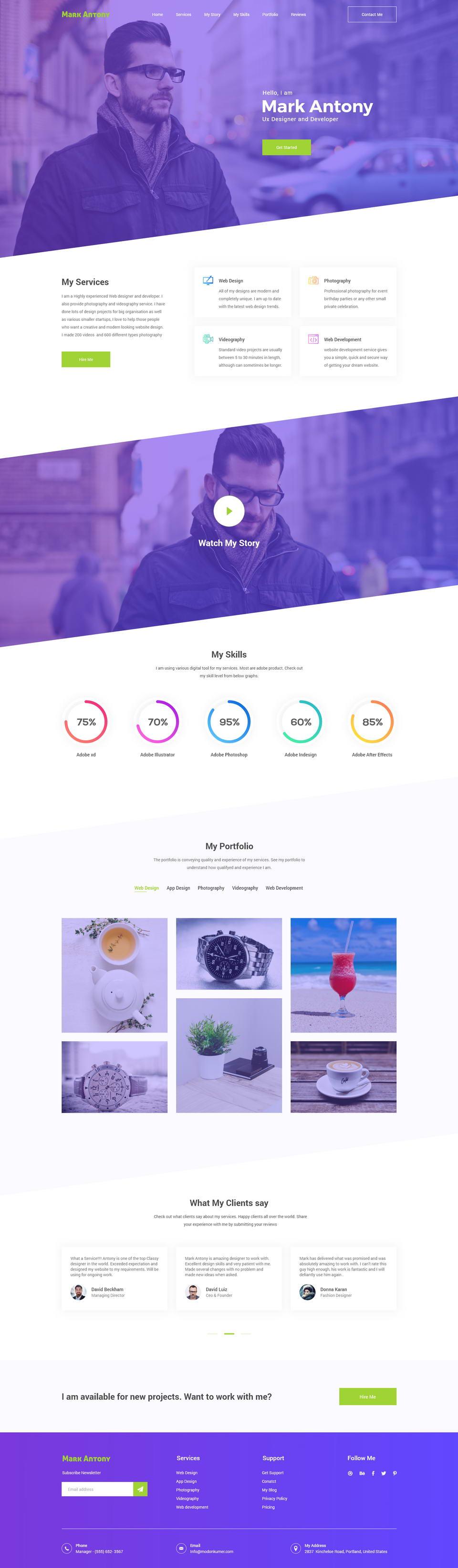 Personal Portfolio Website XD · Pinspiry