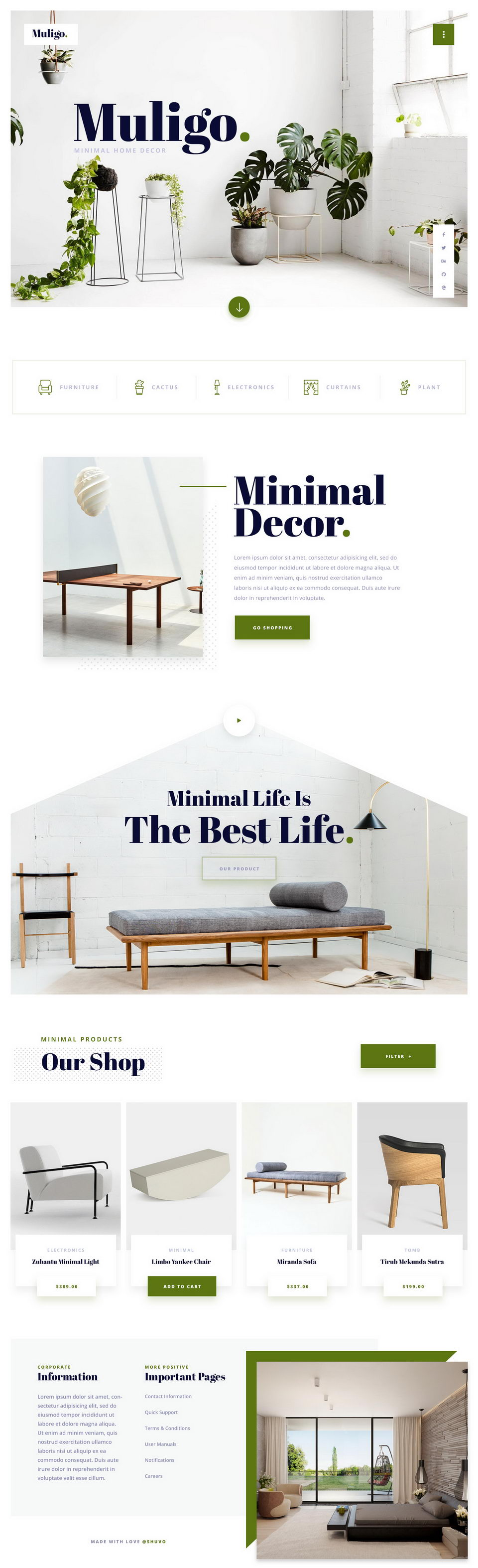 Muligo Ia A Free Minimal Home Decor Website Exploration Psd Template It S Also Suits For Creative Agencies Designers Fashion And Arel Websites
