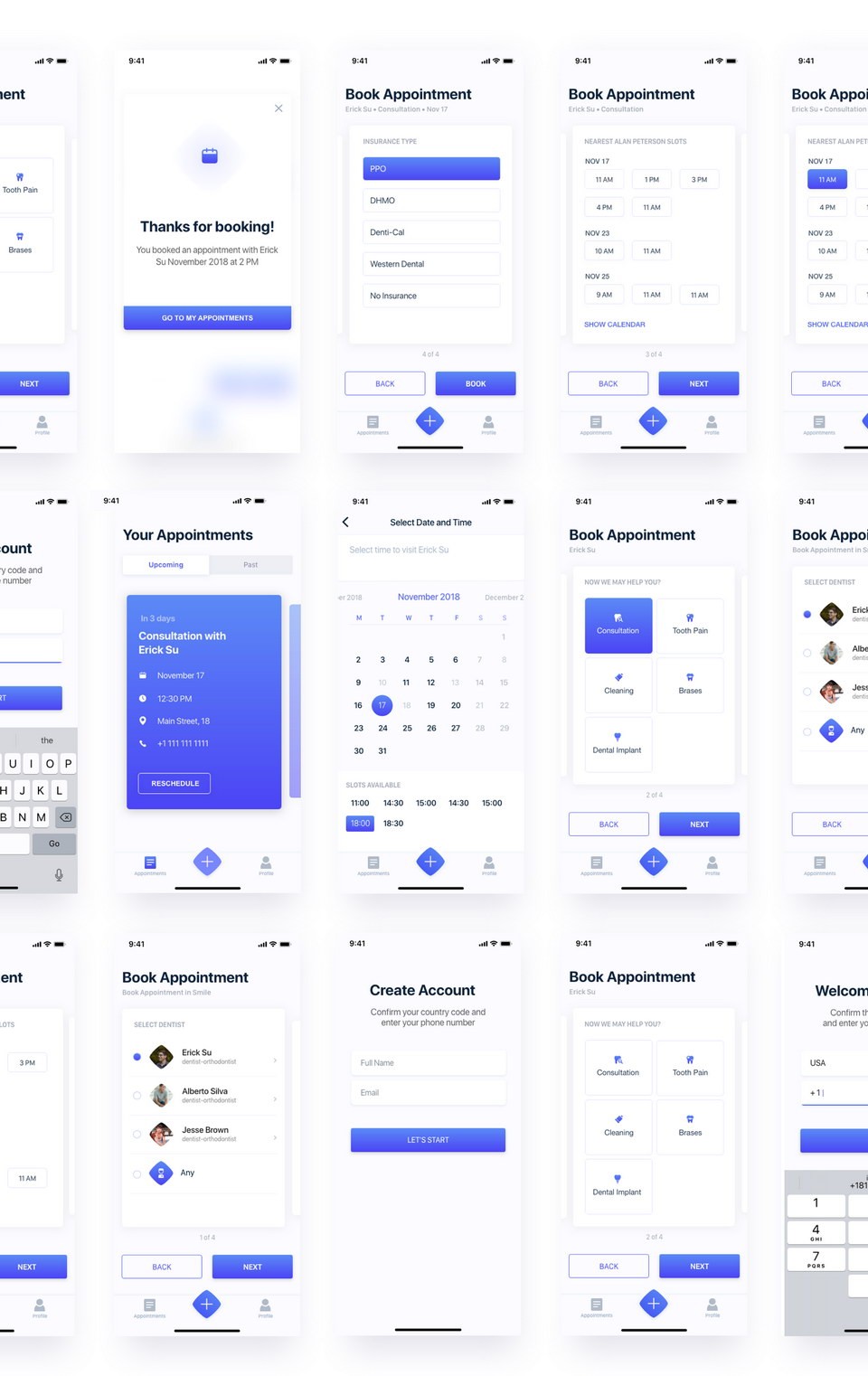 Booking Appointment UI Kit XD · Pinspiry