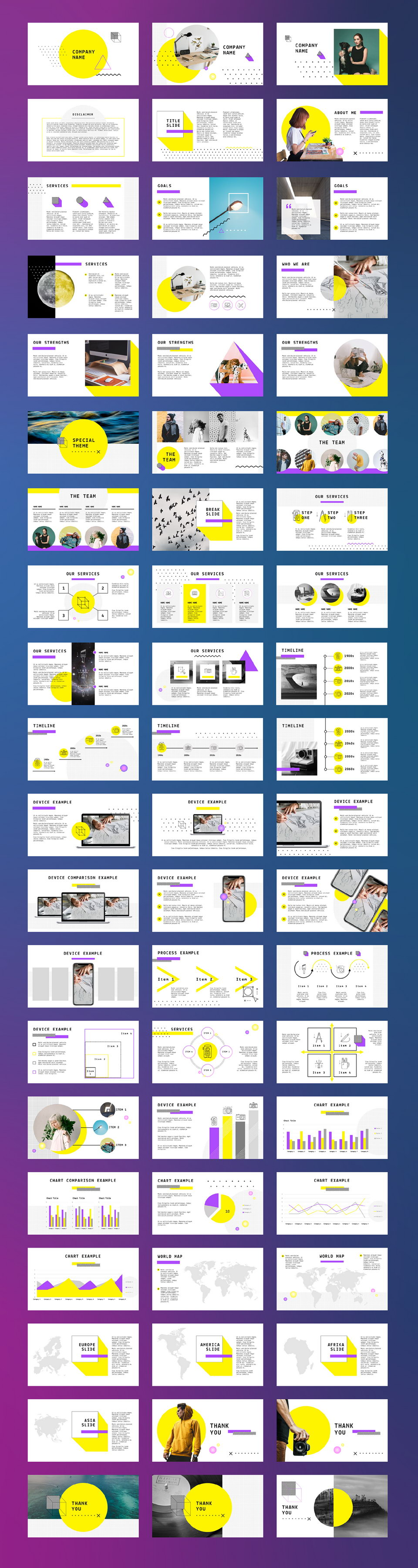 Yellow Free Powerpoint Template Pinspiry