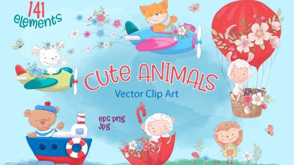 Cute-Animals-–-Vector-Clip-Art-by-nicjulia-580×386