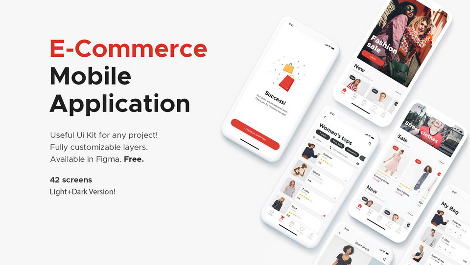 E-Commerce App Free UI Kit Figma · Pinspiry