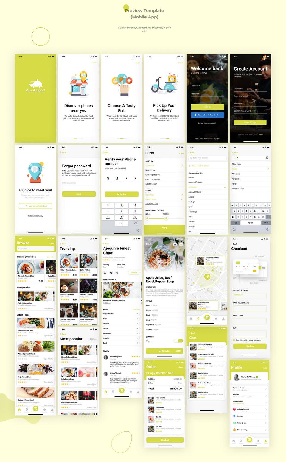Food Delivery App & Web Free UI Kit · Pinspiry